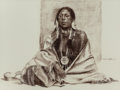 Fine Art - Work on Paper:Drawing, WILLIAM WHITAKER (American, b. 1943). Seated Fort Duchesne UteIndian, 1973. Pastel and Conté crayon on board. 30 x 40 i...