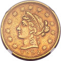 Territorial Gold, 1852 $10 Wass Molitor Ten Dollar, Large Head, Wide Date AU53 NGC. K-4, R.5....