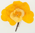 Luxury Accessories:Accessories, Chanel Yellow Canvas Camellia Flower Pin . ...