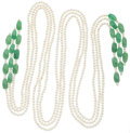 Estate Jewelry:Necklaces, Cultured Freshwater Pearl, Aventurine Necklace. ...