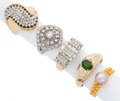 Estate Jewelry:Rings, Diamond, Cultured Pearl, Gold Rings. ... (Total: 5 Items)