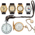 Timepieces:Other , Four Wristwatches & Two Pocket Watches & A Watch Case. ...(Total: 7 Items)