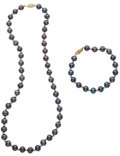 Estate Jewelry:Pearls, Black Cultured Pearl, Gold Jewelry. ... (Total: 2 Items)