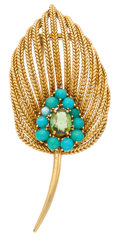 Estate Jewelry:Brooches - Pins, Retro Peridot, Turquoise, Gold Brooch. ...