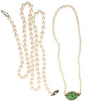 Estate Jewelry:Necklaces, Cultured Pearl, Glass, Silver, Yellow Metal Necklaces. ... (Total:2 Items)