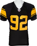 Football Collectibles:Uniforms, 2008 James Harrison Game Worn, Signed Pittsburgh Steelers Throwback Jersey - Worn 9/29 and 10/26....