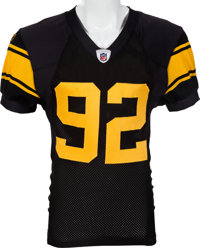 678930cfc65 2008 James Harrison Game Worn, Signed Pittsburgh Steelers Throwback Jersey  - Worn 9/29