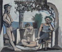 PABLO PICASSO (Spanish, 1881-1973) Bacchanale, circa 1955 Etching and aquatint in colors 18-1/2 x