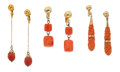 Estate Jewelry:Lots, Lot of Coral, Gold, Gold-Plated Earrings. ...