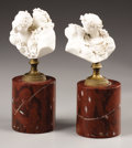 Decorative Arts, French:Other , A Pair of French Bisque Busts on Marble Pedestals. Unknown maker,French. Circa 1900. Porcelain, gilt bronze and marble. M... (Total:2 Items)