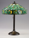 Lighting:Lamps, An American Art Glass Table Lamp. The Handel Company, New York, New York. Early 20th century. Leaded glass, patinated base...