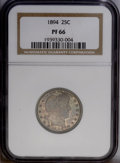 Proof Barber Quarters: , 1894 25C PR66 NGC. NGC Census: (39/29). PCGS Population (18/11). Mintage: 972. Numismedia Wsl. Price: $2,250.(#5680)...
