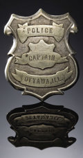 "Western Expansion:Cowboy, ""POLICE CAPTAIN"" OTTAWA, ILLINOIS - ca 1890's-1900's - This is avery early Police Captains' badge, 2 1/4"" diameter in white...(Total: 1 Item)"