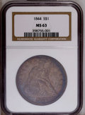 Seated Dollars: , 1844 $1 MS63 NGC. NGC Census: (4/1). PCGS Population (6/2).Mintage: 20,000. (#6930)...