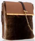 Luxury Accessories:Bags, Christian Louboutin Brown Fur & Beige Leather Flap Bag. ...