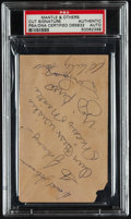 Baseball Collectibles:Others, Mickey Mantle and Additional Yankees Greats Multi Signed CutSignature, PSA Authentic....