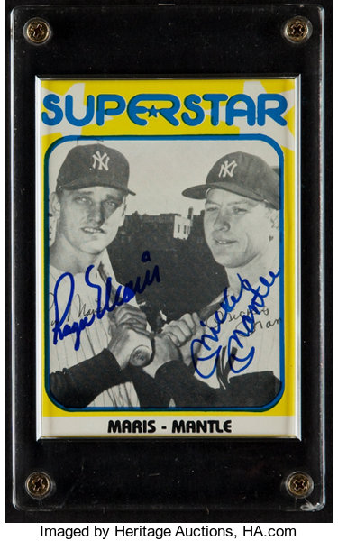 Mickey Mantle And Roger Maris Multi Signed Card Baseball Cards