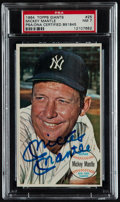 Baseball Cards:Autographs, 1964 Topps Giants Mickey Mantle Signed Card, PSA NM 7....