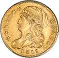 Early Half Eagles, 1811 $5 Small 5 -- Tooled -- PCGS Genuine. Unc Details. BD-2, R.3....