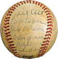 Autographs:Baseballs, 1945 New York Giants Team Signed Baseball with Mel Ott, ErnieLombardi & Others....
