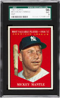 Baseball Cards:Singles (1960-1969), 1961 Topps Mickey Mantle MVP #475 SGC 96 Mint 9 - Pop Four, NoneHigher. ...