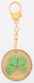 Luxury Accessories:Accessories, Chanel Gold & Green Four Leaf Clover Charm . ...