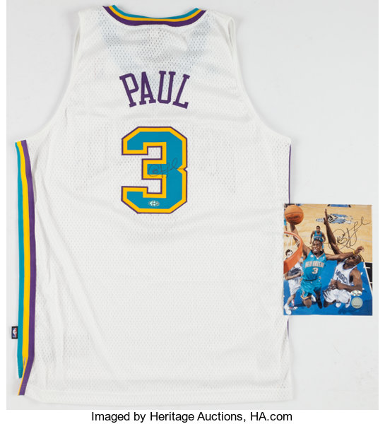 cce84748a Chris Paul Signed New Orleans Hornets Jersey and Photograph ...