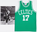 Basketball Collectibles:Uniforms, John Havlicek Signed Boston Celtics Jersey and OversizedPhotograph....