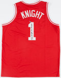 "Basketball Collectibles:Uniforms, Bobby Knight ""3X Champs"" Signed Indiana Hoosiers Jersey...."