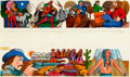 Books:Original Art, [Original Art]. Reynold Ruffins. Pair of Original Legends and Lore Panoramic Paintings. Published in the Dell Guide. Inc...
