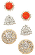 Estate Jewelry:Earrings, Diamond, Fire Opal, Gold Earrings. ... (Total: 3 Items)