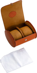 Timepieces:Other , Underwood Double Round Travel Leather Watch Case. ...