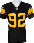 Football Collectibles:Uniforms, 2009 James Harrison Game Worn Pittsburgh Steelers Throwback Jersey - Worn 10/4 & 12/27 With 2 Repairs....
