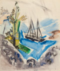 Works on Paper, JOHN MARIN (American, 1870-1953). Trees, Rocks, and Schooner (Within the Three-Mile Limit), 1921. Watercolor and ink on ...