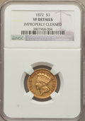 Three Dollar Gold Pieces: , 1872 $3 -- Improperly Cleaned -- NGC Details. VF. NGC Census: (0/177). PCGS Population (0/175). Mintage: 2,000. Numismedia ...
