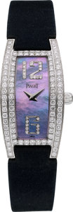 "Timepieces:Wristwatch, Piaget Ref. 54035 Lady's ""Limelight"" White Gold, Diamond &Mother-of-Pearl Wristwatch. ..."