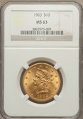 Liberty Eagles: , 1903 $10 MS63 NGC. NGC Census: (107/42). PCGS Population (139/53). Mintage: 125,800. Numismedia Wsl. Price for problem free...