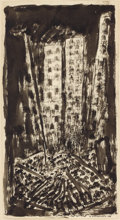 Fine Art - Work on Paper:Drawing, ABRAHAM WALKOWITZ (American, 1880-1965). New YorkAbstraction, 1911. Ink on paper. 13-1/4 x 7-1/4 inches (33.7 x18.4 cm...