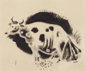 Fine Art - Work on Paper:Drawing, YASUO KUNIYOSHI (Japanese, 1889-1953). The Cow, circa 1926.Sumi ink on paper. 6-3/4 x 8-1/2 inches (17.1 x 21.6 cm). Si...