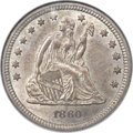 Seated Quarters, 1860-S 25C MS61 NGC. CAC. Briggs 1-A....