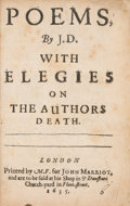 Books:Literature Pre-1900, John Donne. Poems, By J. D. With Elegies on the Authors Death. London: M[iles] F[letcher] for John M...