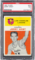 Basketball Cards:Singles (Pre-1970), 1961 Fleer Jerry West #43 PSA NM 7....