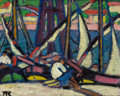 Paintings, MARGUERITE THOMPSON ZORACH (American, 1887-1968). Along the River--Martigues, 1910. Oil on panel. 12-1/2 x 15-5/8 inches...