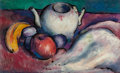 Fine Art - Painting, American:Modern  (1900 1949)  , THOMAS HART BENTON (American, 1889-1975). Still Life with Teapotand Fruit, circa 1912-14. Oil on board. 9-3/8 x 15-1/2 ...