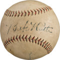 Autographs:Baseballs, 1927 Babe Ruth & Lou Gehrig Dual-Signed Barnstorming Tour Baseball Hit by Gehrig!...