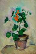 Fine Art - Painting, American:Modern  (1900 1949)  , MORGAN RUSSELL (American, 1886-1953). Capucines(Nasturtiums), 1912. Oil on canvas. 21-5/8 x 15 inches (54.9 x38.1 cm)...