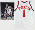 Basketball Collectibles:Uniforms, Oscar Robertson Signed Milwaukee Bucks Jersey and OversizedPhotograph....