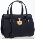 Luxury Accessories:Bags, Gucci Navy Blue Leather Flap Top Bag. ...