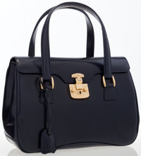 Gucci Navy Blue Leather Flap Bag with Gold Hardware