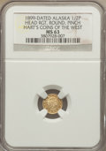 """Alaska Tokens, """"1899"""" Head Right, Round, Alaska Gold 1/2 Pinch, MS63 NGC. Hart'sCoins of the West.. The Valley View Life Collection, Par..."""